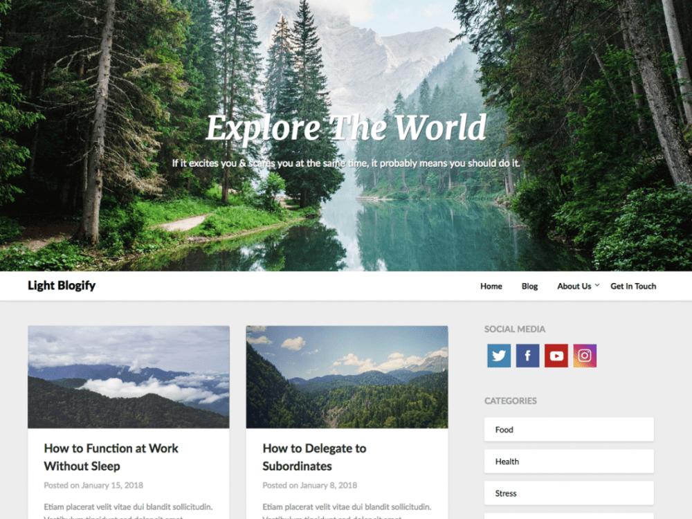 Free LightBlogify Wordpress theme