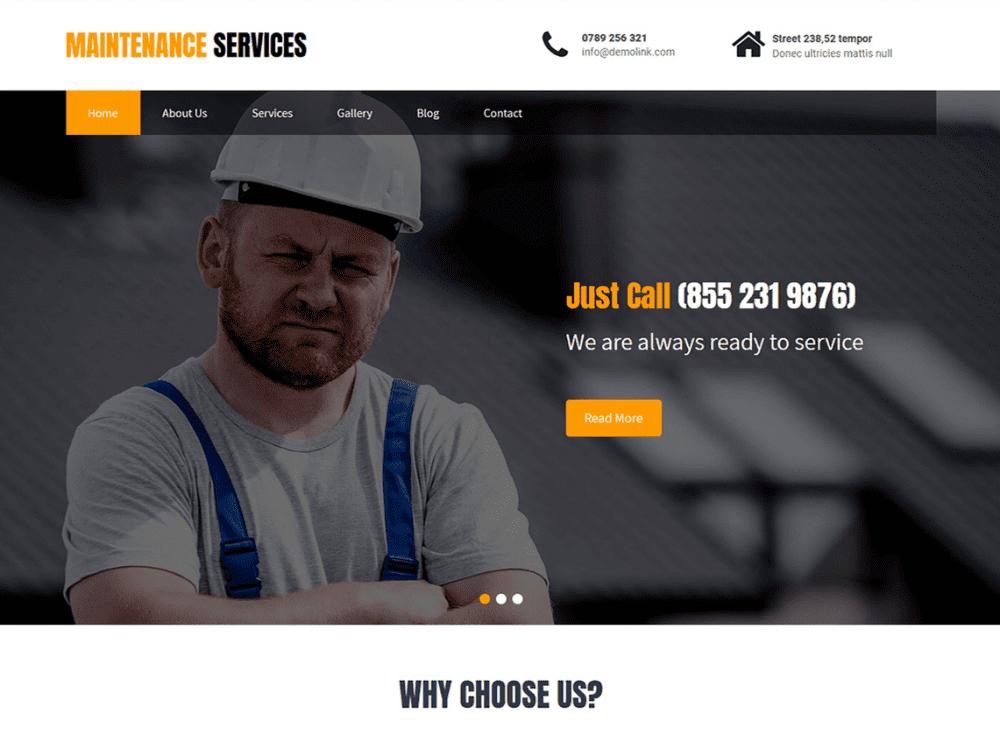 Free Maintenance Services WordPress theme