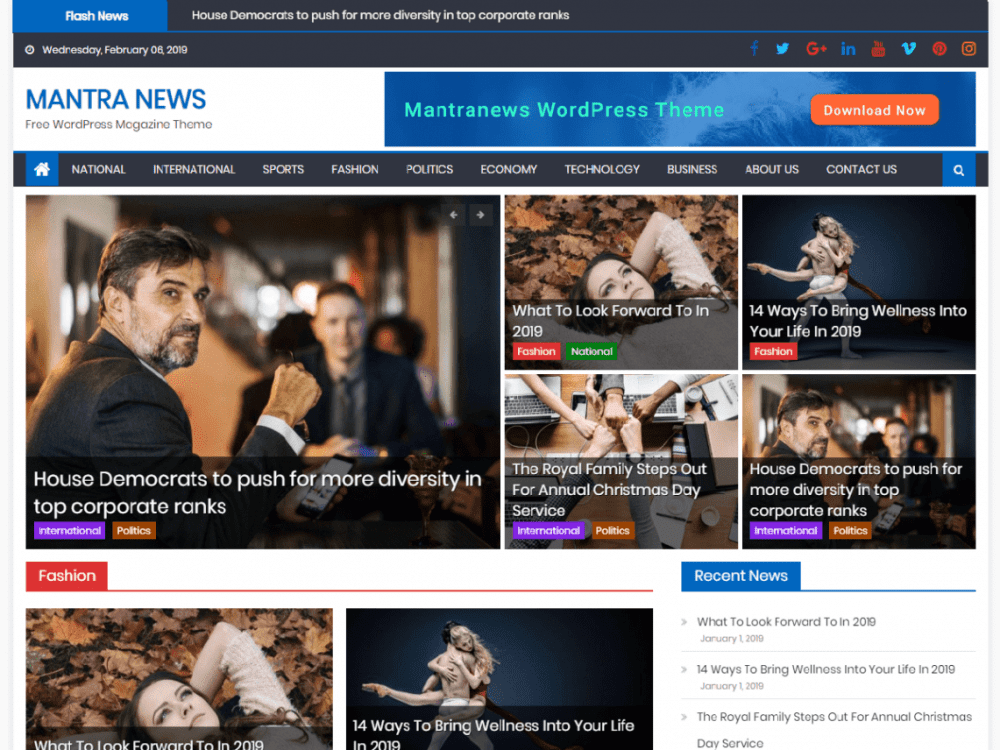 Free Mantranews WordPress theme