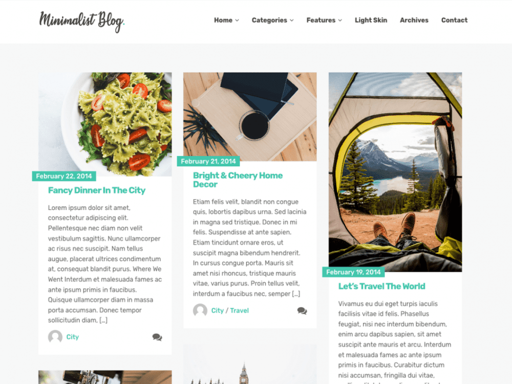 Free Minimalist Blog WordPress theme