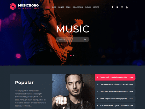 Free Musicsong WordPRess theme