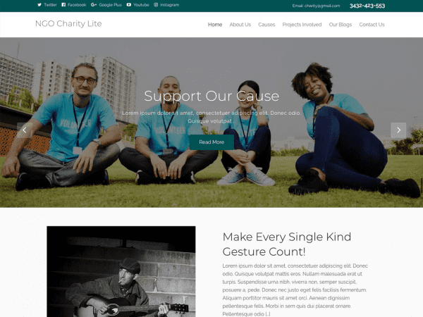Free NGO Charity Lite WordPress theme