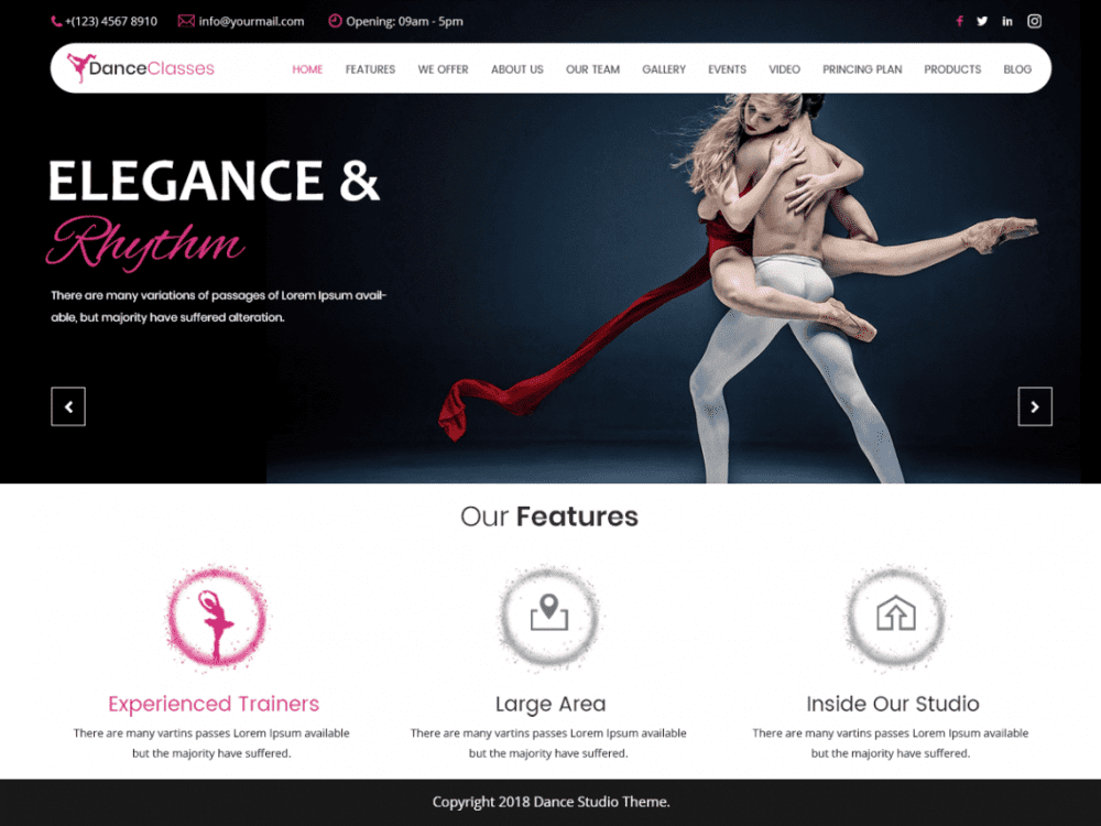 Free Nataraj Dance Studio WordPress theme