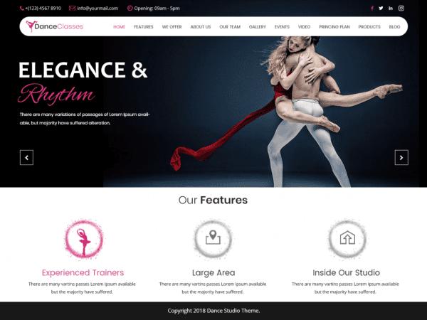 Free Nataraj Dance Studio WordPress theme