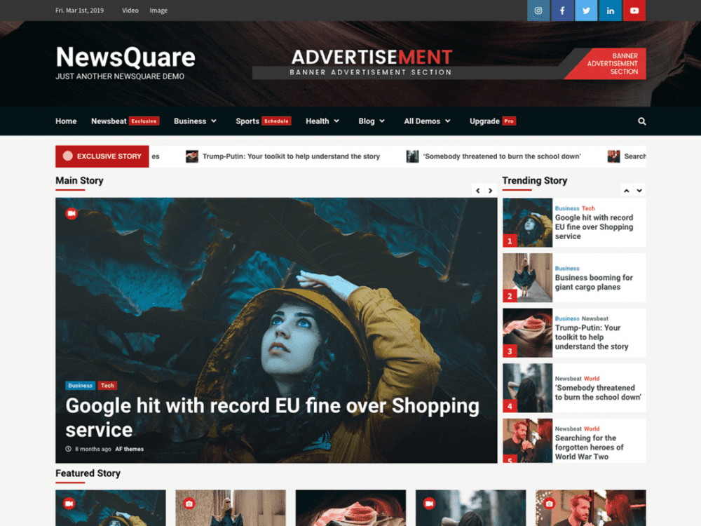 Free NewsQuare WordPress theme