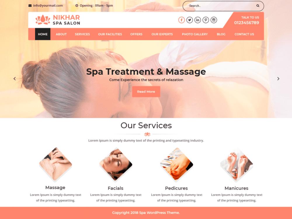 Free Nikhar Spa Salon WordPress theme