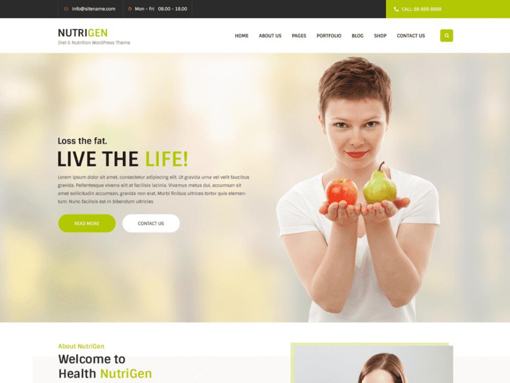 Free Nutrigen Wordpress theme