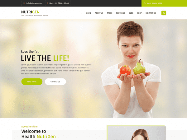 Free Nutrigen Wordpress theme