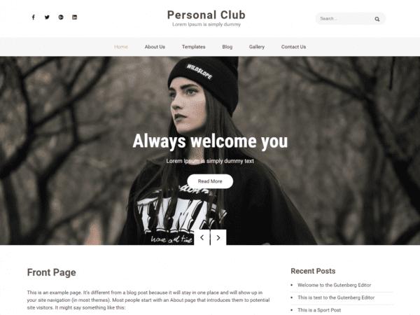 Free Personal Club WordPress theme