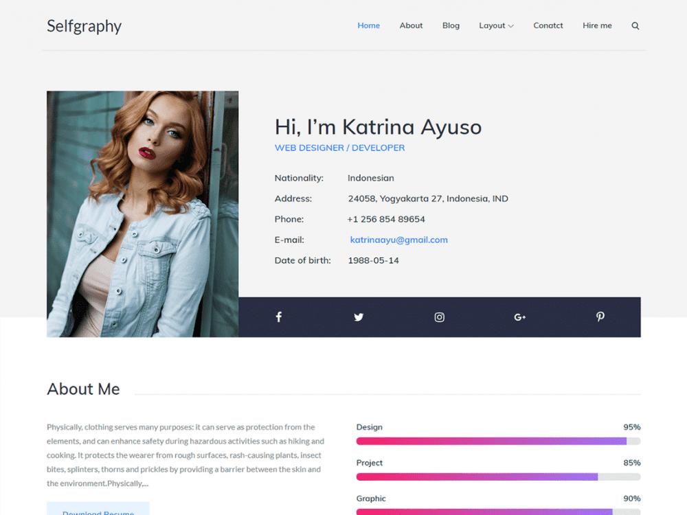 Free Selfgraphy WordPress theme
