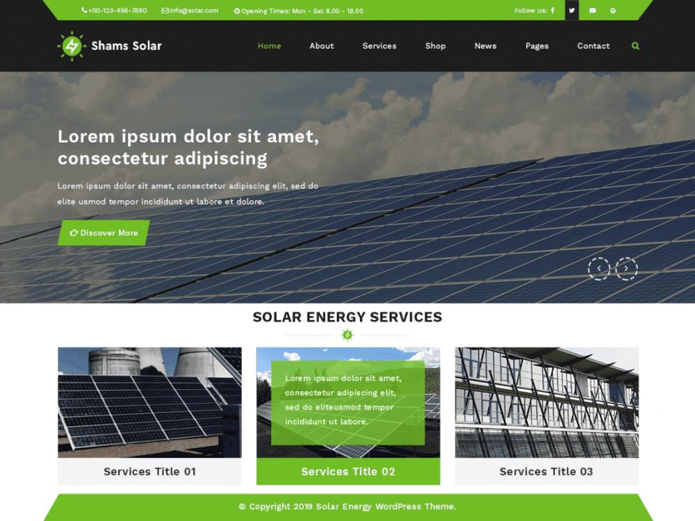 Free Shams Solar WordPress theme