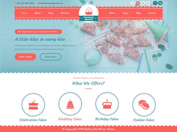 Free Tanawul Bakery WordPress theme