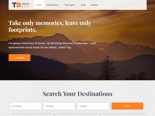 Free Travel Base WordPress theme
