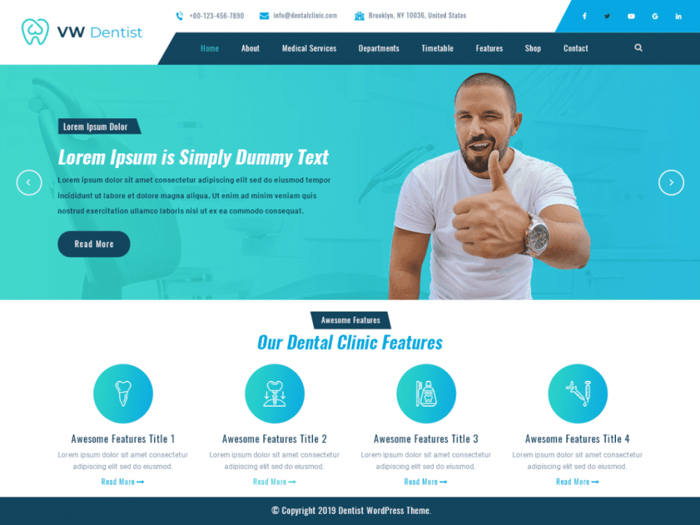 Free VW Dentist WordPress theme