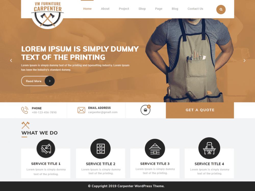 Free VW Furniture Carpenter WordPress theme