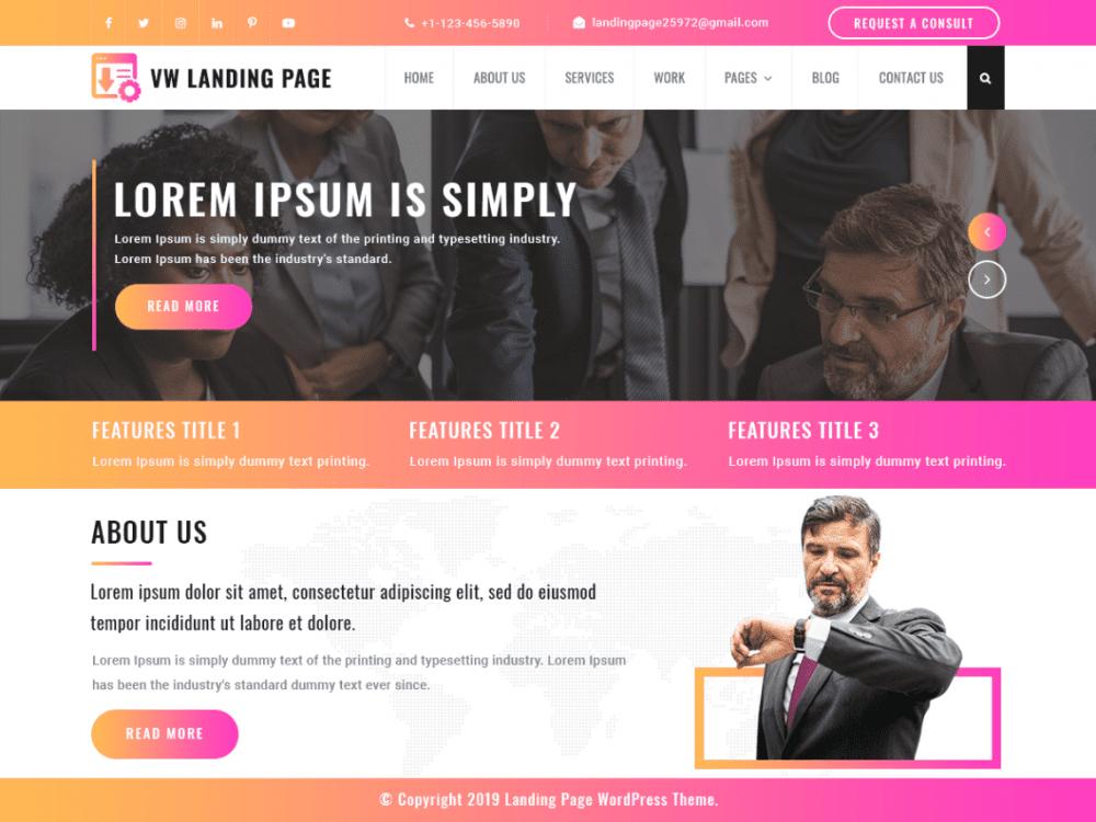 Free VW Landing Page WordPress theme