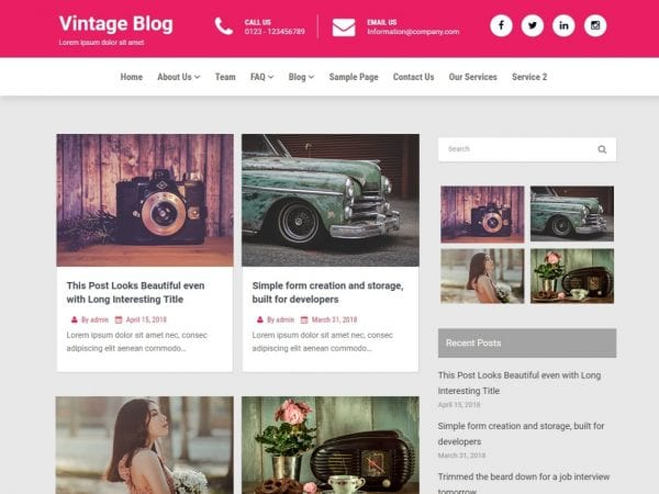 Free Vintage Blog WordPress theme