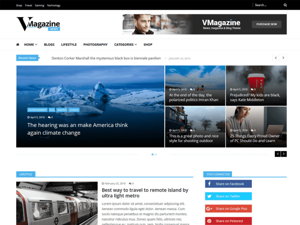 Free Vmagazine News WordPress theme