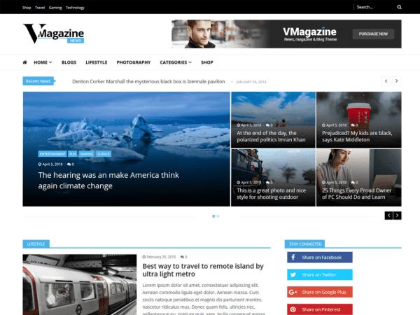 Free Vmagazine News WordPress theme