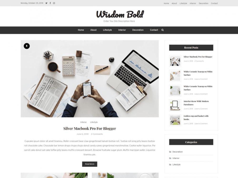Free Wisdom Bold WordPress theme
