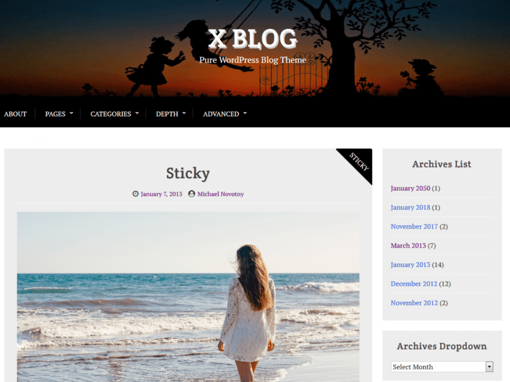 Free X Blog WordPress theme