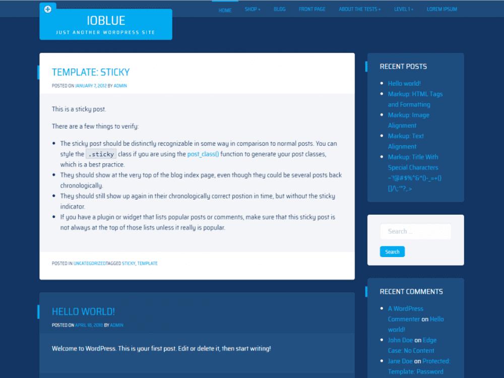 Free ioBlue WordPress theme