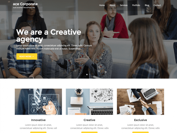 Free Ace Corporate WordPress theme
