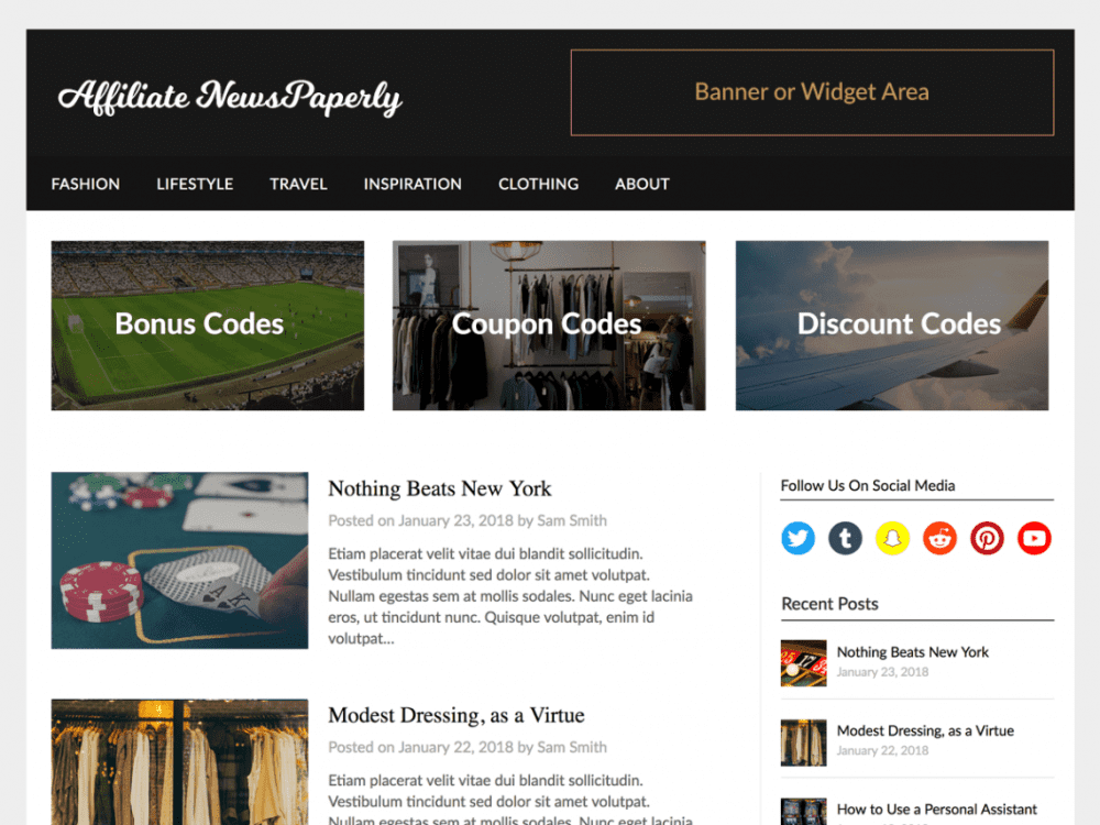 Free Affiliate Newspaperly WordPress theme