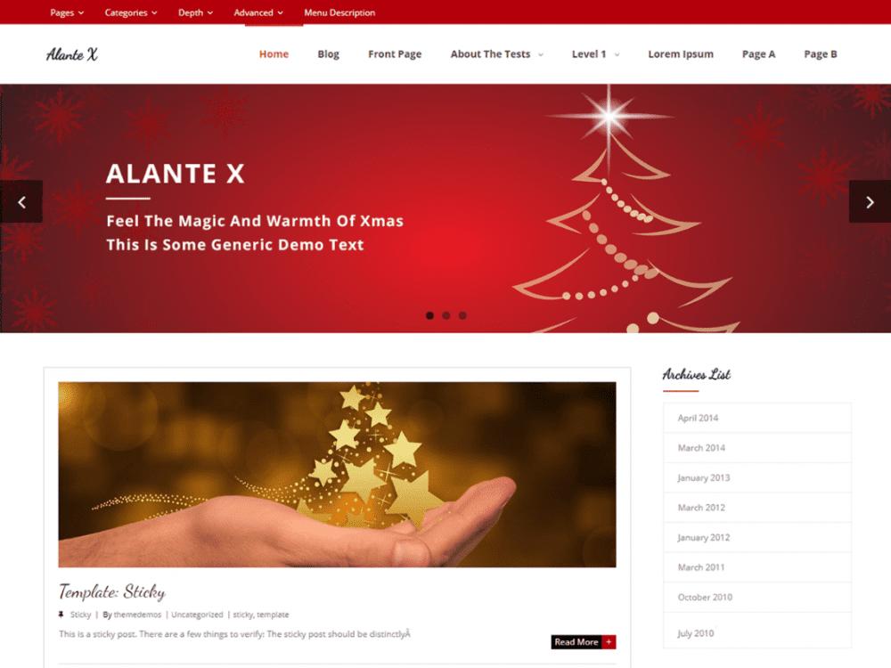 Free Alante X WordPress theme
