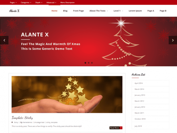 Free Alante X WordPress theme
