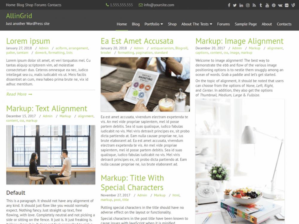 Free AllinGrid WordPress theme