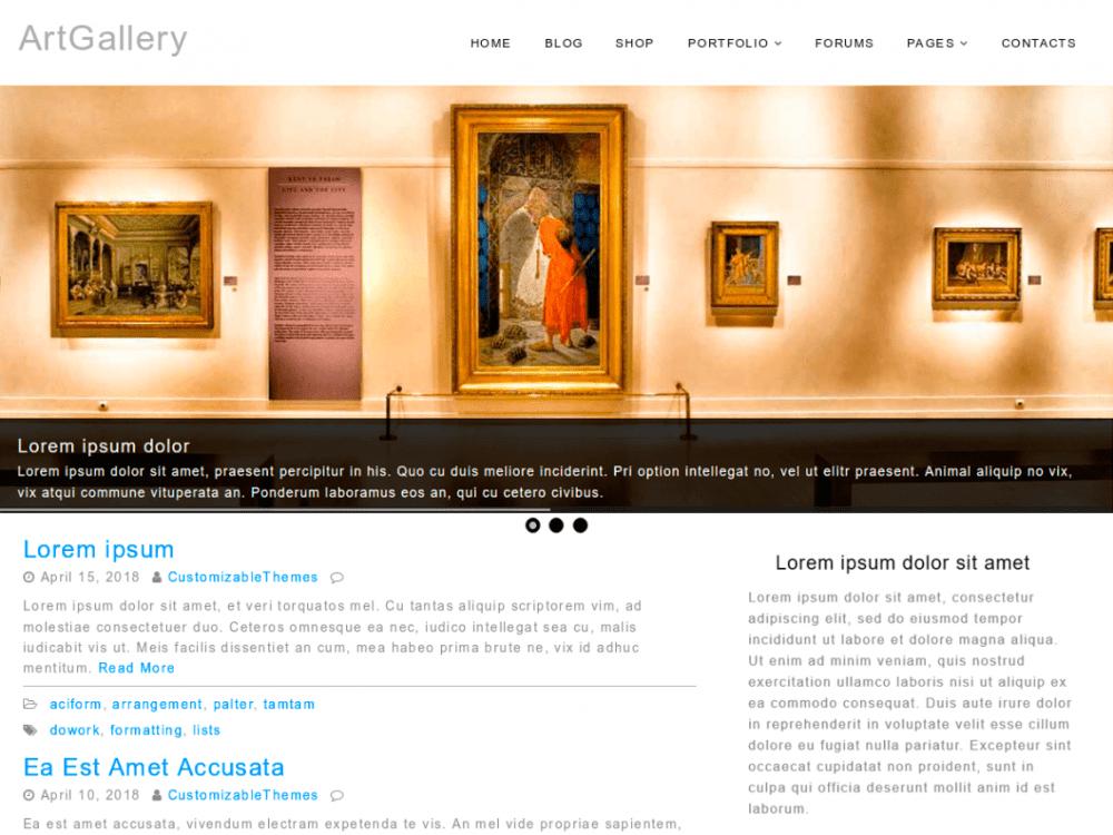 Free ArtGallery WordPress theme