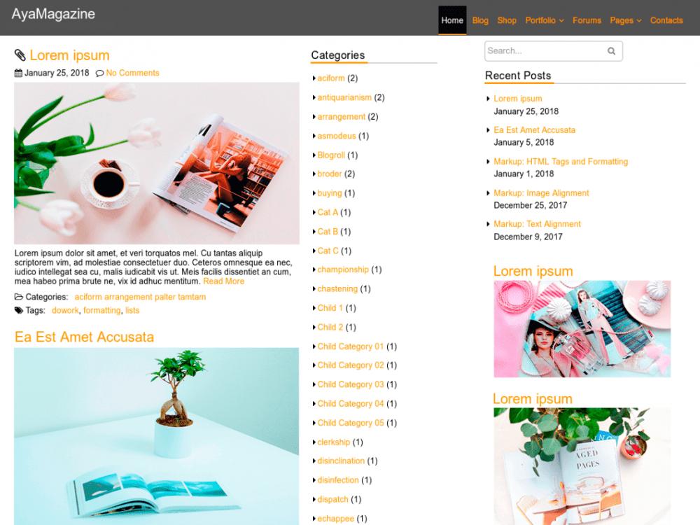 Free AyaMagazine WordPress theme