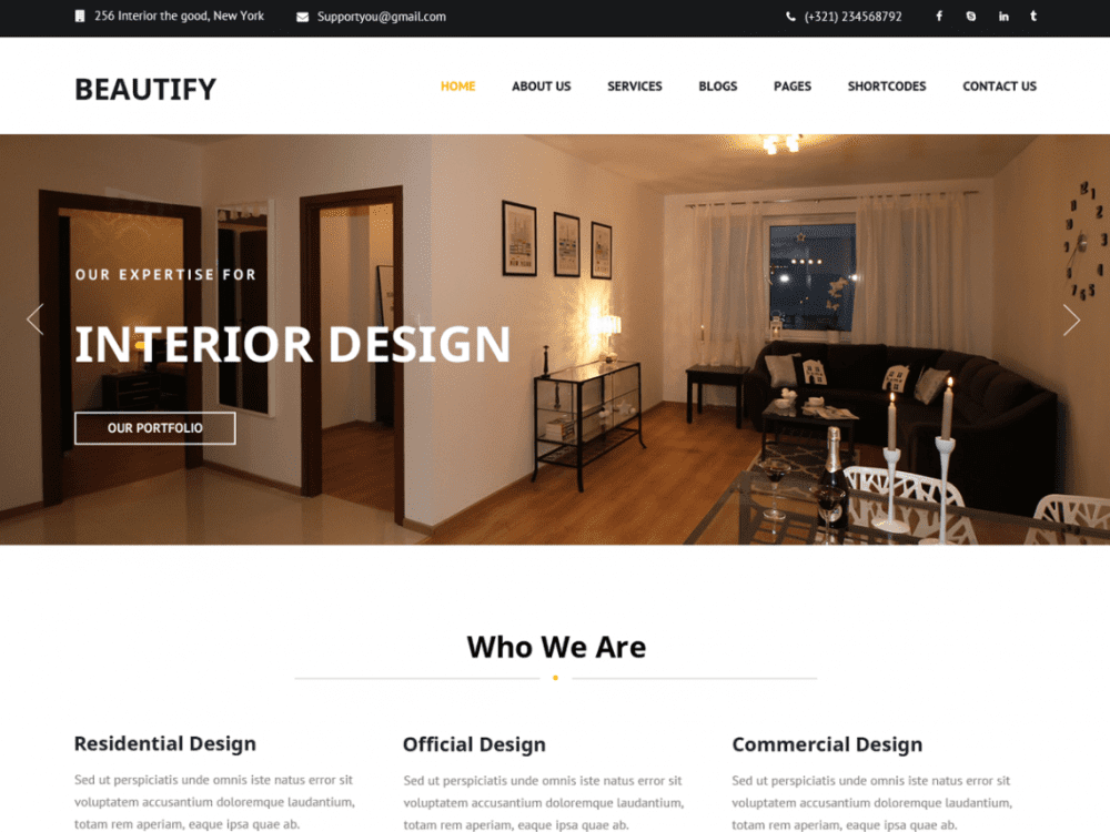 Free Beautify WordPress theme