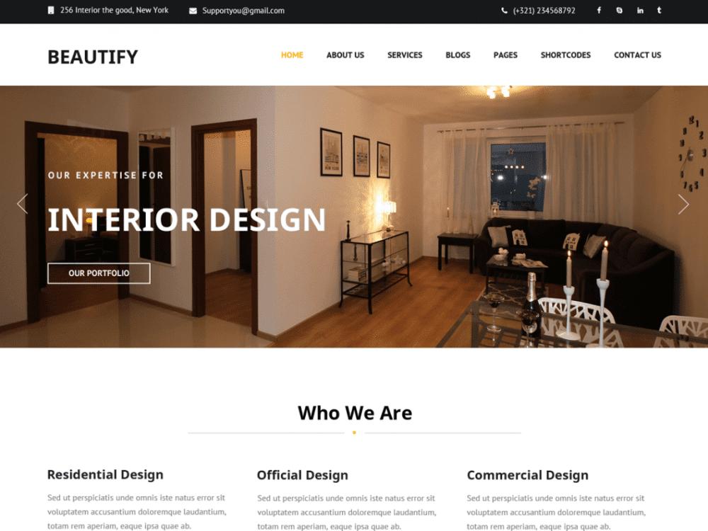 Free Beautify WordPress theme