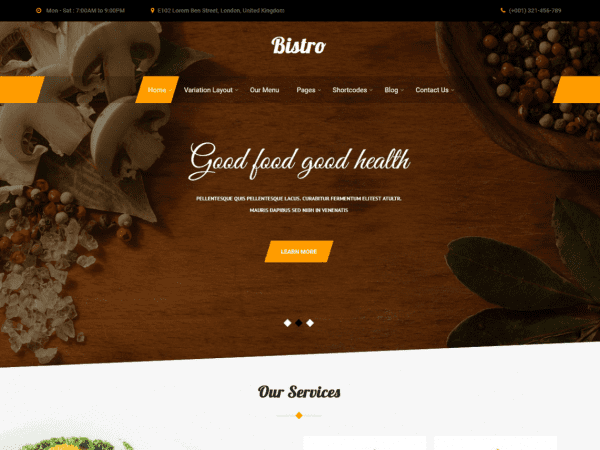 Free Bistro Lite WordPress theme