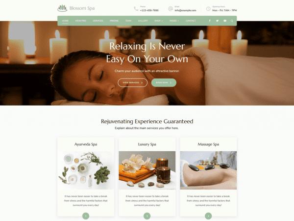 Free Blossom Spa WordPress theme