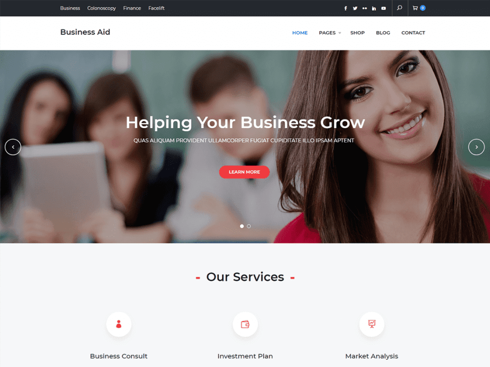 Free Business Aid WordPress theme