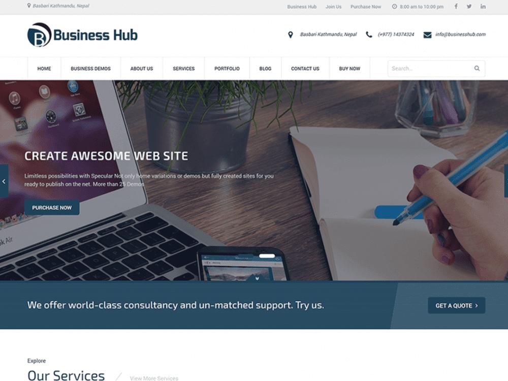 Free Business Hub WordPress theme