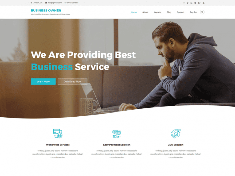 Free Business Owner WordPress theme