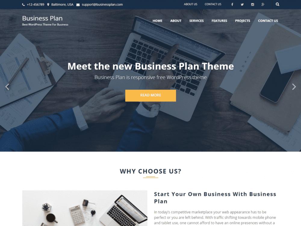Free Business Plan WordPress theme