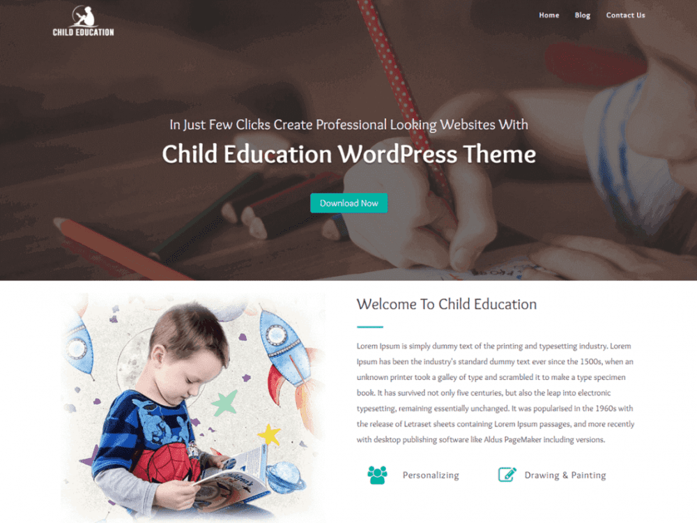 Free Child Education WordPress theme