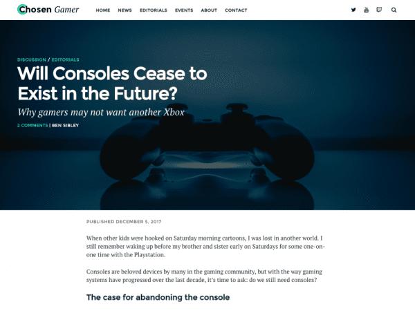 Free Chosen Gamer WordPress theme