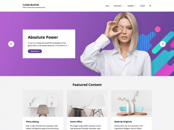 Free Clean Blocks WordPress theme
