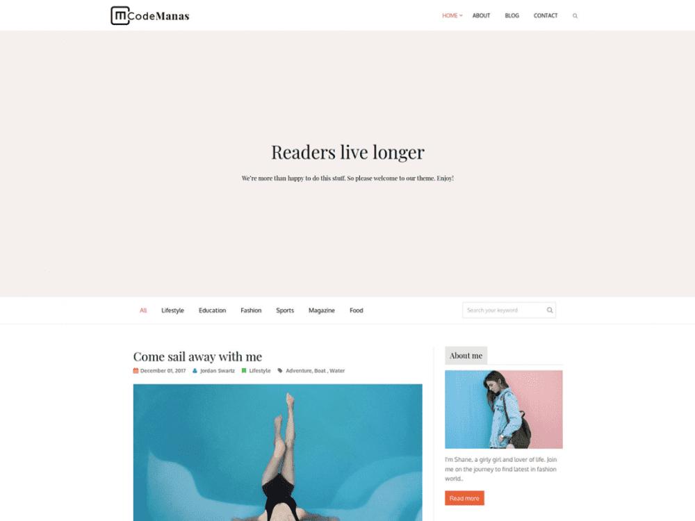 Free Code Manas WordPress theme