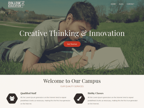 Free College Education WordPress theme