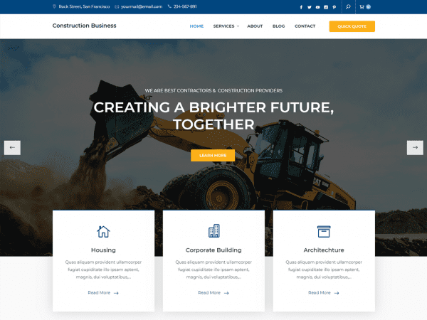 Free Construction Business WordPress theme