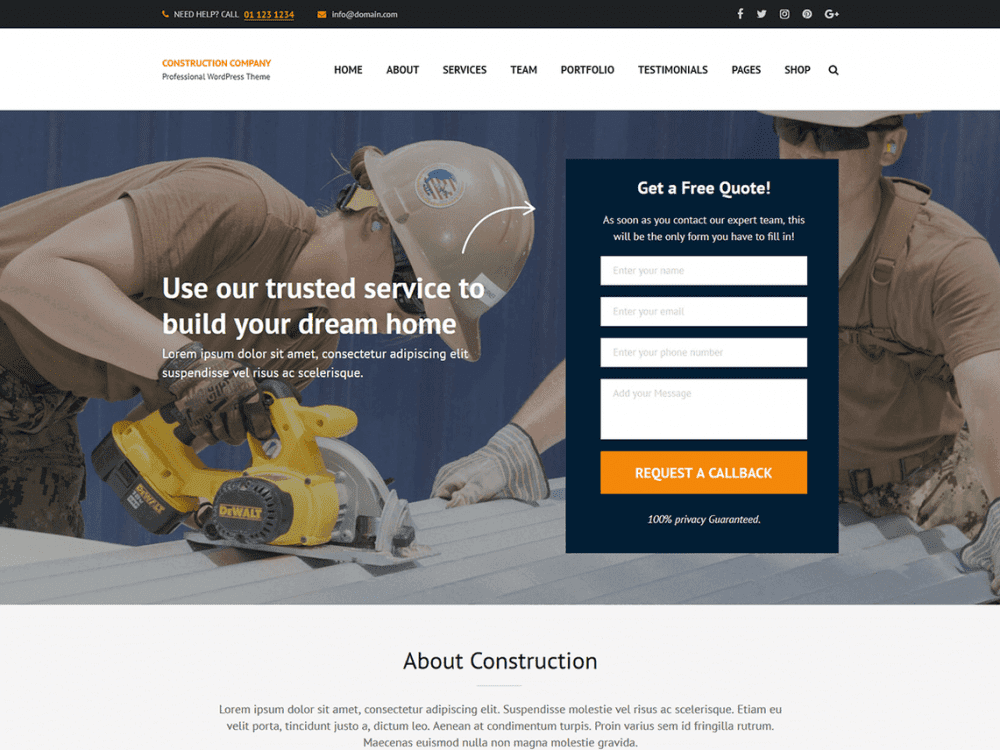 Free Construction Company WordPress theme