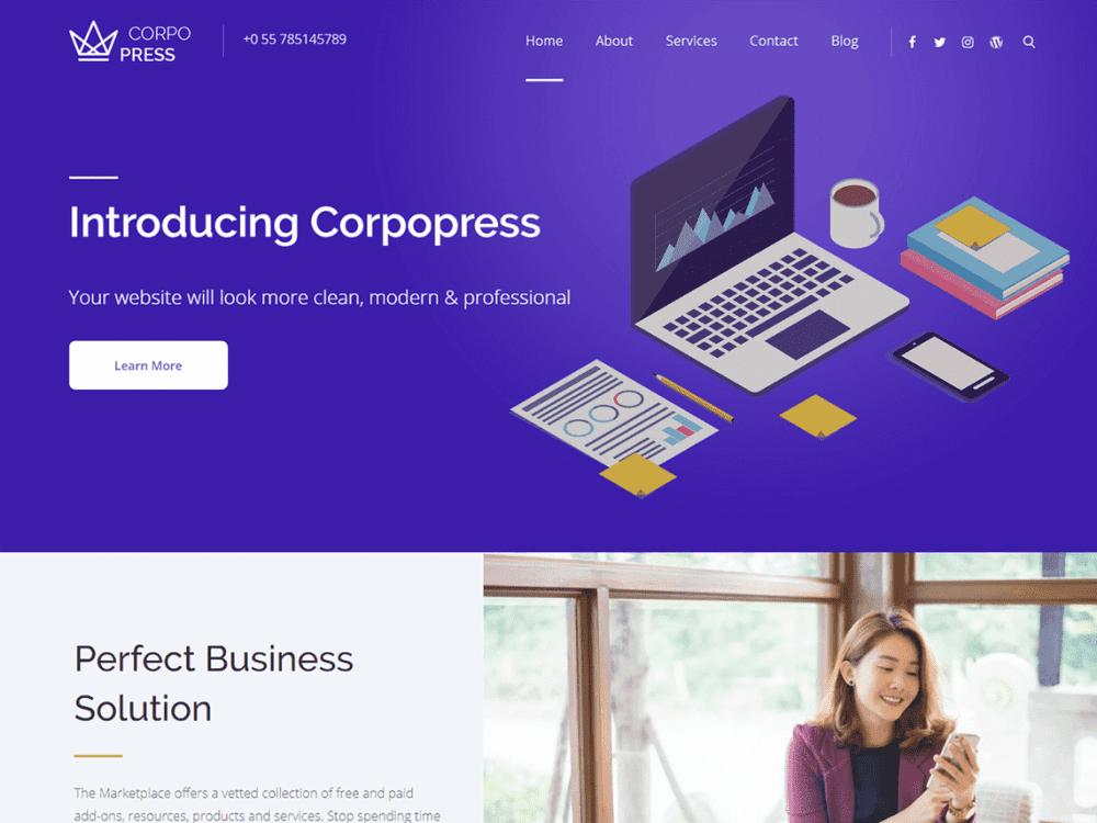 Free Corpopress WordPress theme