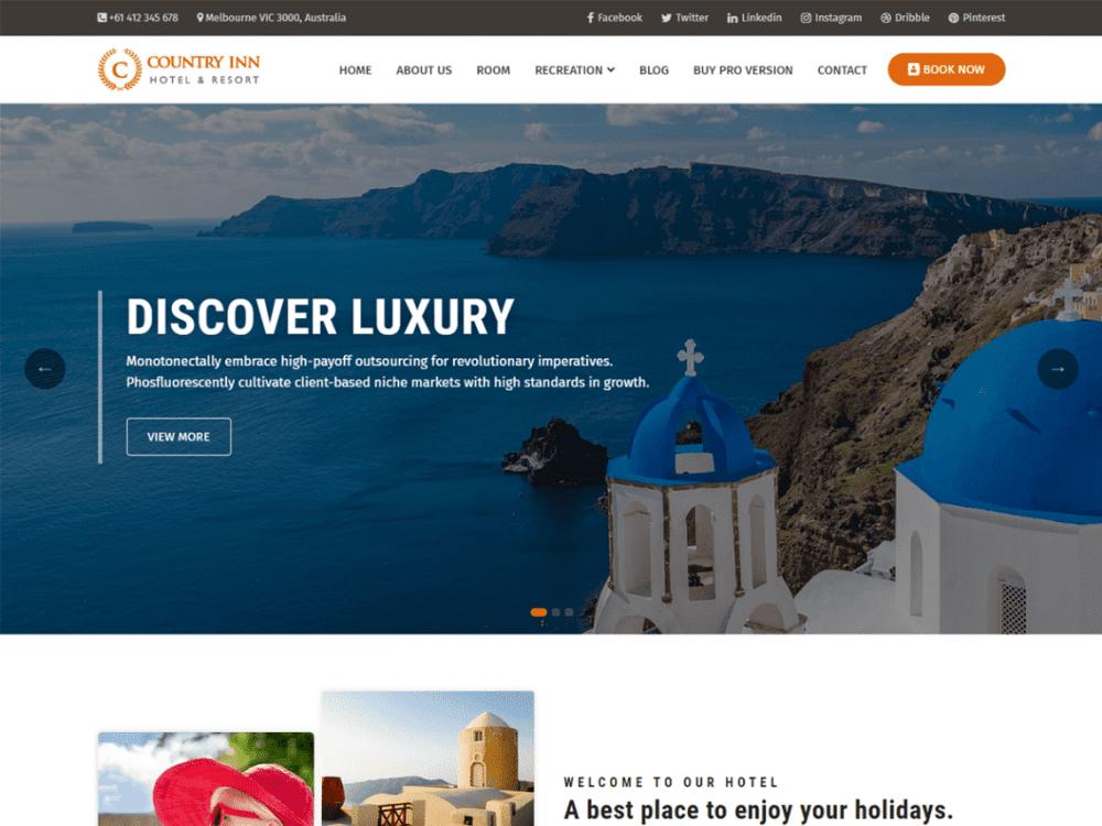 Free Country Inn WordPress theme